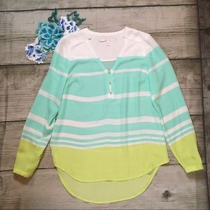 NWOT Lauren Conrad Long Sleeve Striped Blouse